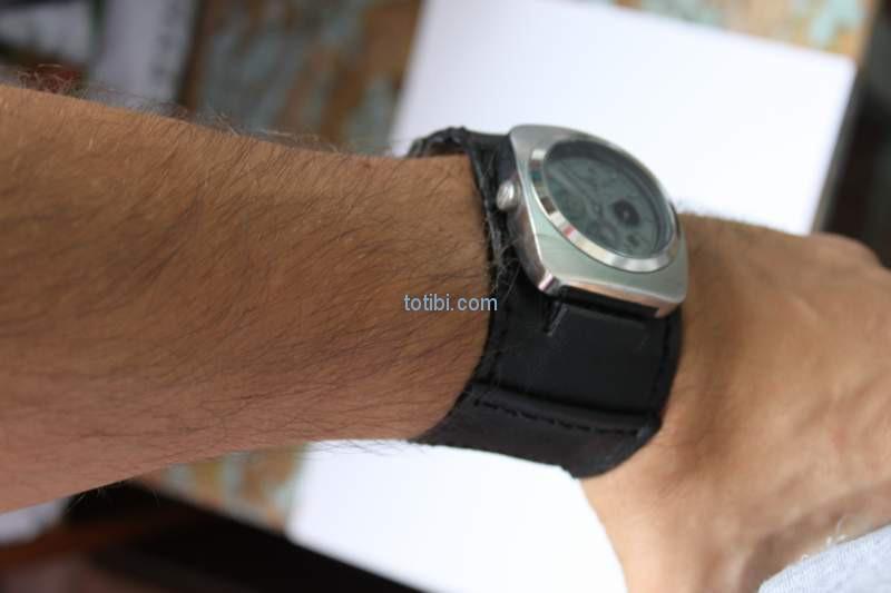 Черный гладкая матовая кожа ремешок для часов ремень широкий застежка отверстие для большие часы K11 18