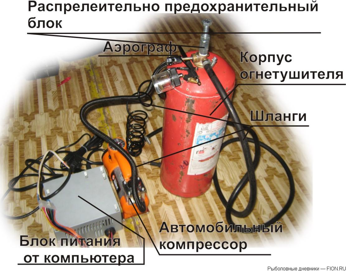 Как сделать компрессор из огнетушителя и холодильника