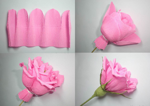 Роза из гофрированной бумаги своими руками пошаговая