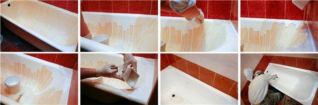 Обновление эмали чугунной ванны